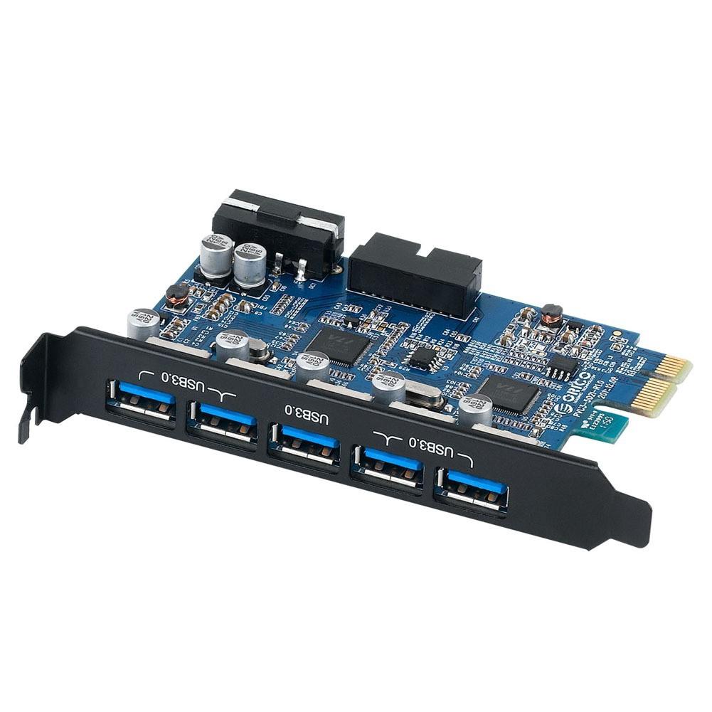 Card chuyển đổi PCI-Express 7 Port USB 3.0 cho máy tính bàn ORICO PVU3-502I (Đen)-Hàng phân phối chí