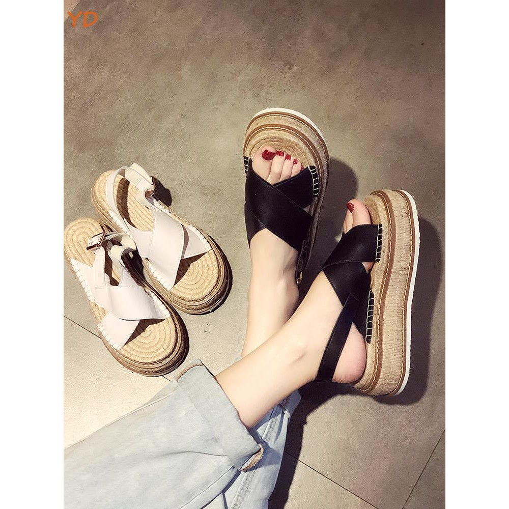 YD sandals 2019 Korean version of the summer new retro linen open toe type sandals thick bottom cake wedges women's shoe