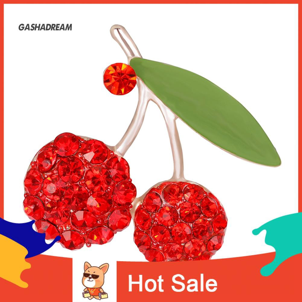 GD Women's Gorgeous Cute Red Rhinestone Cherry Leaf Fruit Brooch Pin Accessory