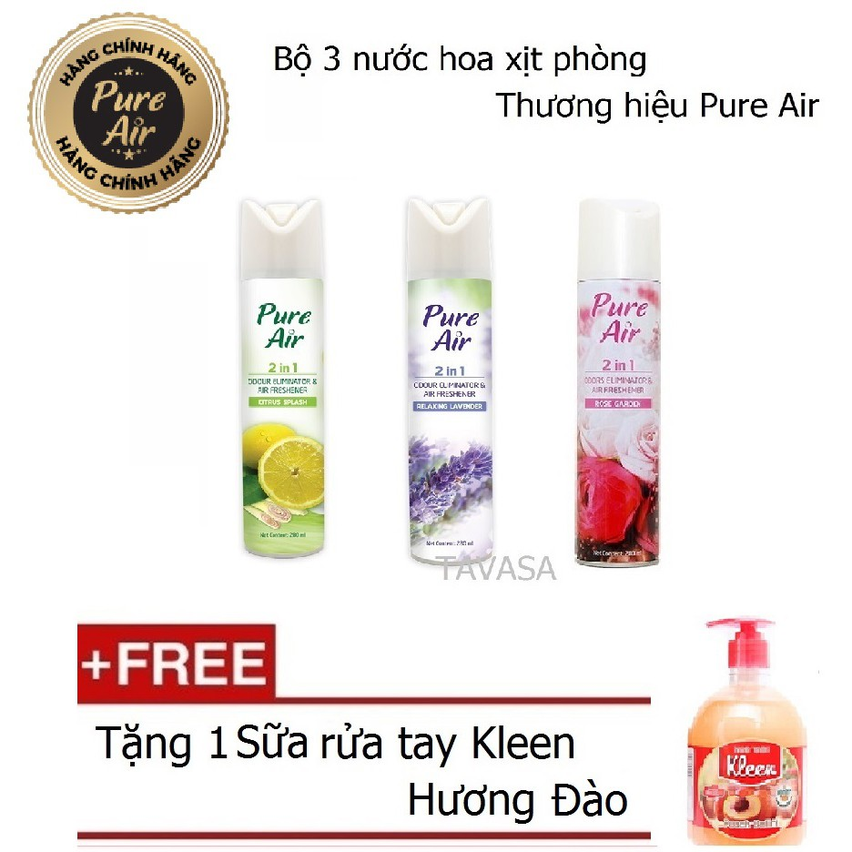 Bộ 3 Nước hoa xịt phòng Pure Air 280ml + 1 Sữa rửa tay Kleen (Đào)
