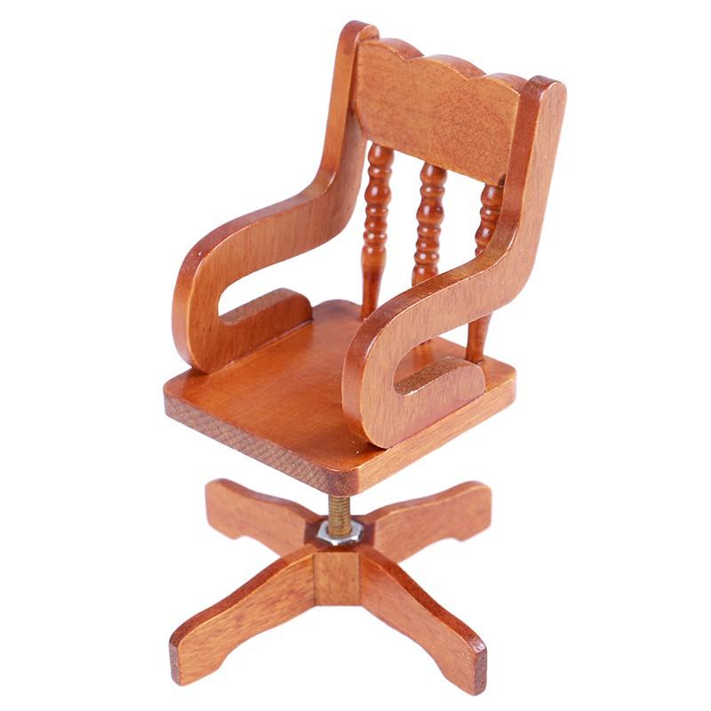 ★ƯU ĐÃI ★1:12 Dollhouse miniature furniture wooden swivel chair for dollshouse