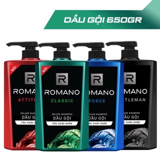 Tắm gội 2 trong 1 ( 2in1 ) / Dầu gội / Sữa tắm Romano hương nước hoa đủ mùi Classic – Force – Attitude – Gentleman 650g