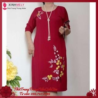 (LỊCH LÃM) Đầm Suông Thêu Hoa Mai To (59KG – 73KG) DUYÊN DÁNG