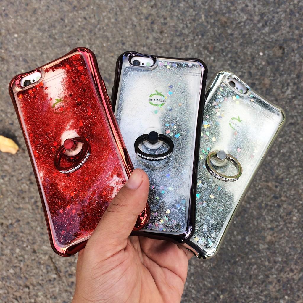 Ốp lưng nước cát kim tuyến có nhẫn ring chân chống Shengo cho iPhone 6/6s