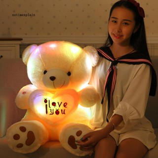 NAME Bluetooth Music Glow at Dark Love Heart Bear Light Plush Doll Toy Throw Pillow