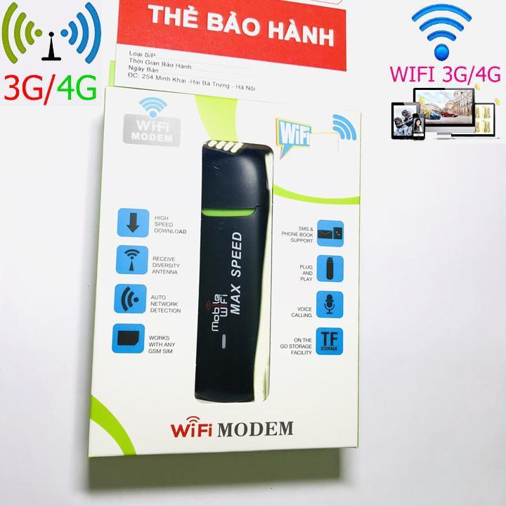 Usb Dcom phát wifi 3g 4g Max Spee - Sử dụng Đa mạng - tốc độ tàu điện