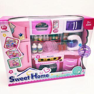 Hộp đồ chơi nhà bếp: lò nướng, tủ bếp, tủ lạnh máy đánh trứng dùng pin có đèn nhạc Sweet Home