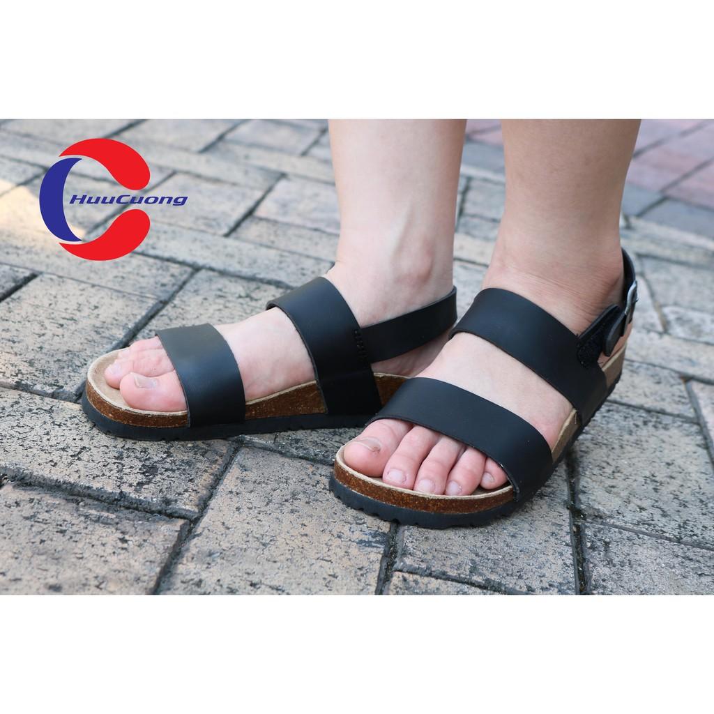 Hình ảnh Sandal unisex thời trang HuuCuong - 2 quai đế trấu( đen)-1