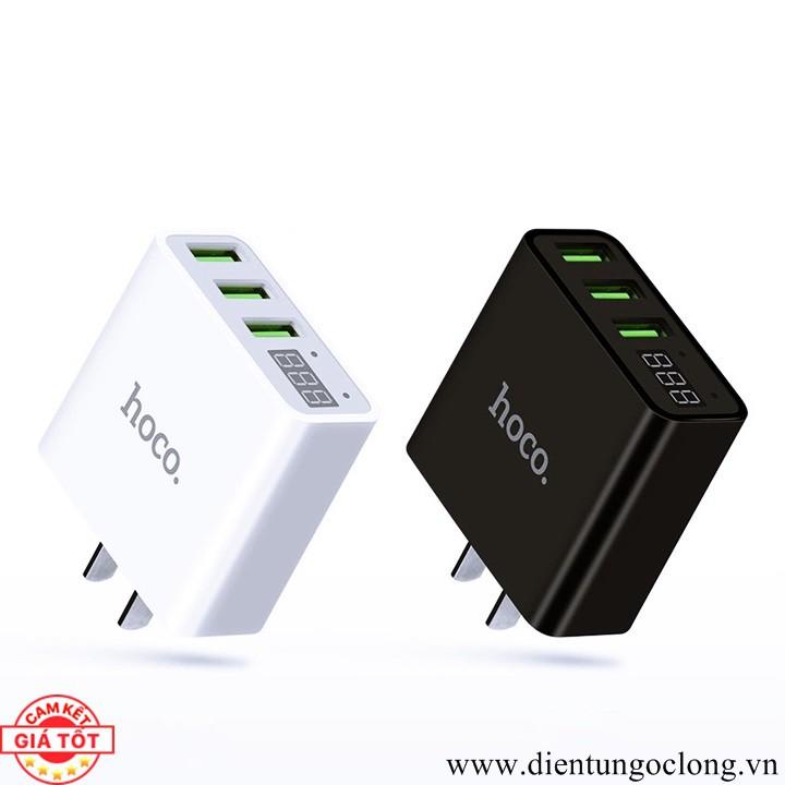 Cốc Sạc Hoco 3 USB Model C15 Có LCD Hiển Thị Tốc Độ Sạc