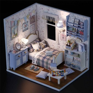 DIY Wooden Doll House Room Box Handmade 3D Dollhouse Wood Educational Toys Girl