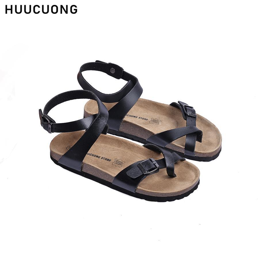 Giày Sandal Xỏ Ngón Cổ Cao HUUCUONG Quai Pu Màu Đen Đế Trấu [FLASH SALE - Hàng Chính Hãng]