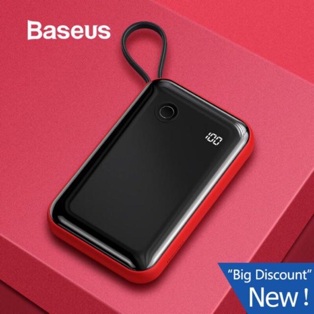 Pin Sạc Dự Phòng Baseus Mini 3A 15W 10000mAh Tích Hợp Cáp USB Cho Iphone Samsung