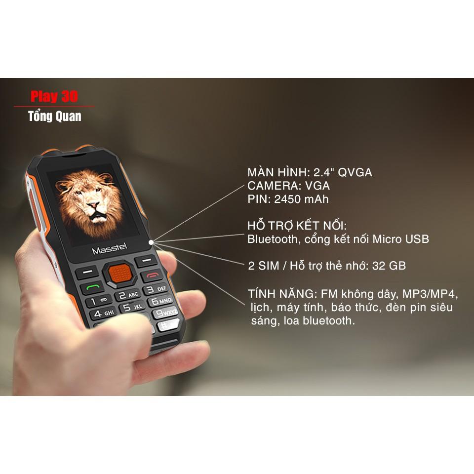 Điện thoại thanh lý Masstel Play 30 Loa to sóng khỏe hầm hố nguyên hộp mới