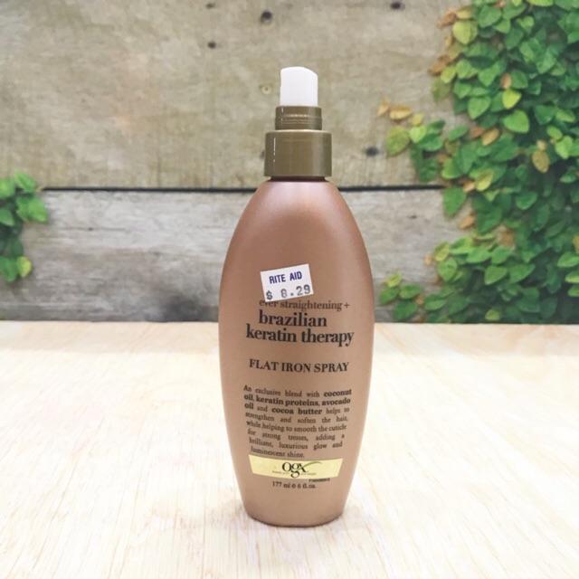 dưỡng tóc OGX Kukui oil + OGX Ever Straightening Brazilian keratin therapy Flat Iron Spra