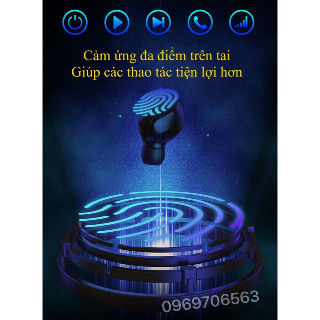 Tai Nghe Bluetooth Không Dây Cảm Ứng Thông Minh TT5 Premium Có Đèn Led LCD Âm Thanh Siêu Đỉnh 2020