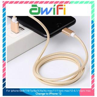 Dây Cáp Sạc Dây Dù Lightning dài 1m và 3m Cho Phụ Kiện Tai nghe Bluetooth i12 Pin Dự Phòng Awifi L2-3