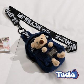 Túi đeo chéo nữ Vải Jean kèm phụ kiện gấu bông, phong cách thời trang Hàn Quốc CN221