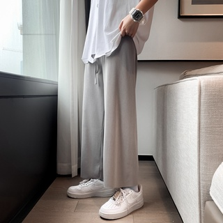 Pants Men's Summer Thin Ice Silk Trousers Loose Straight Widespad Penetrating Trousers Nine Points Sports Casual Pants