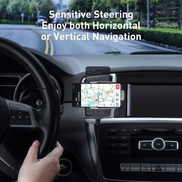 Đế giữ điện thoại tích hợp sạc nhanh không dây dùng cho xe hơi Baseus Milky Way Electric Bracket Wireless Charger 15W