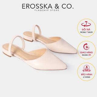 Giày đế bệt Erosska mũi nhọn hở gót phối dây cao 2cm màu nude_EL002