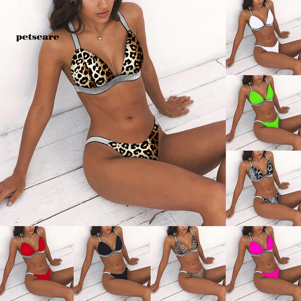 Ptcr_Women Solid Color Leopard Snakeskin Glitter Strap Push Up Bikini Set Swimsuit