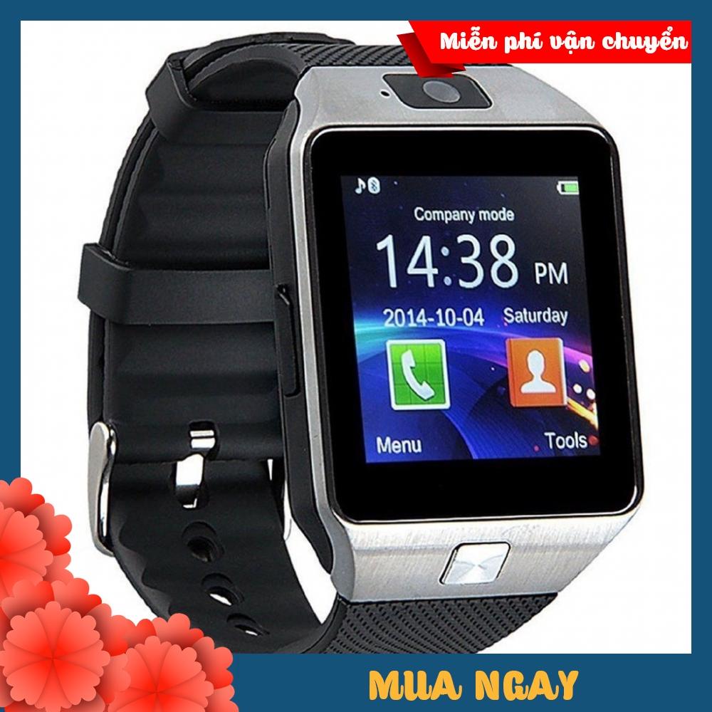 Đồng hồ đeo tay thông minh DZ-09 màu bạc dây đen có khe gắn sim nghe gọi,khe thẻ nhớ,màn hình cảm ứng