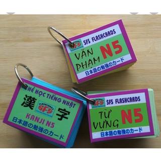 trọn bộ 3 xâu thẻ thẻ flashcards n5 từ vựng kanji ngữ pháp