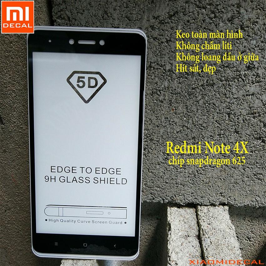 [ Xiaomi Redmi Note 4X chíp 625 ] kính cường lực 5D full màn hình Đen
