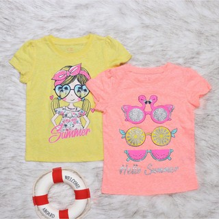Áo thun cotton Geejay cho bé gái họa tiết tươi mát đẹp màu vàng, hồng size 2-8T