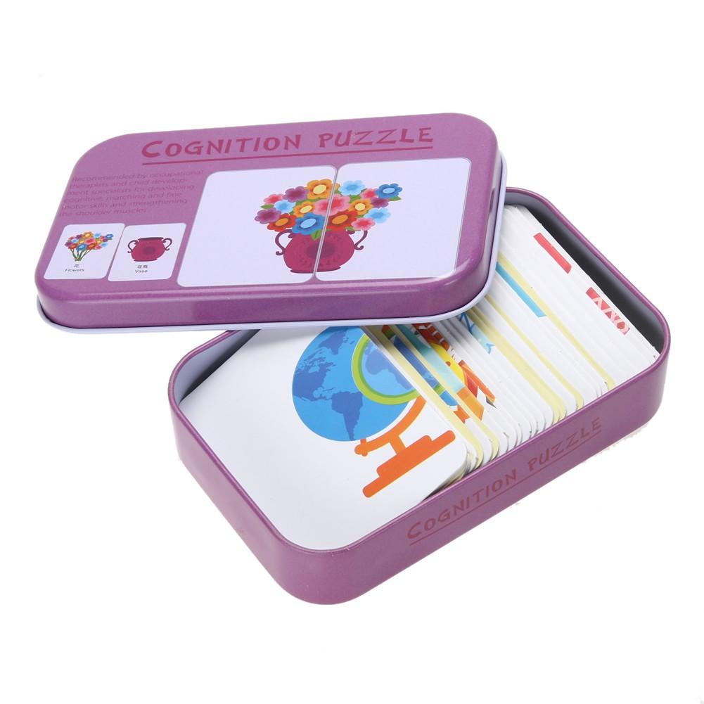 Cozyroomsa Babys Kids Child Iron Box Cards Matching Game Preschool Educational Toy