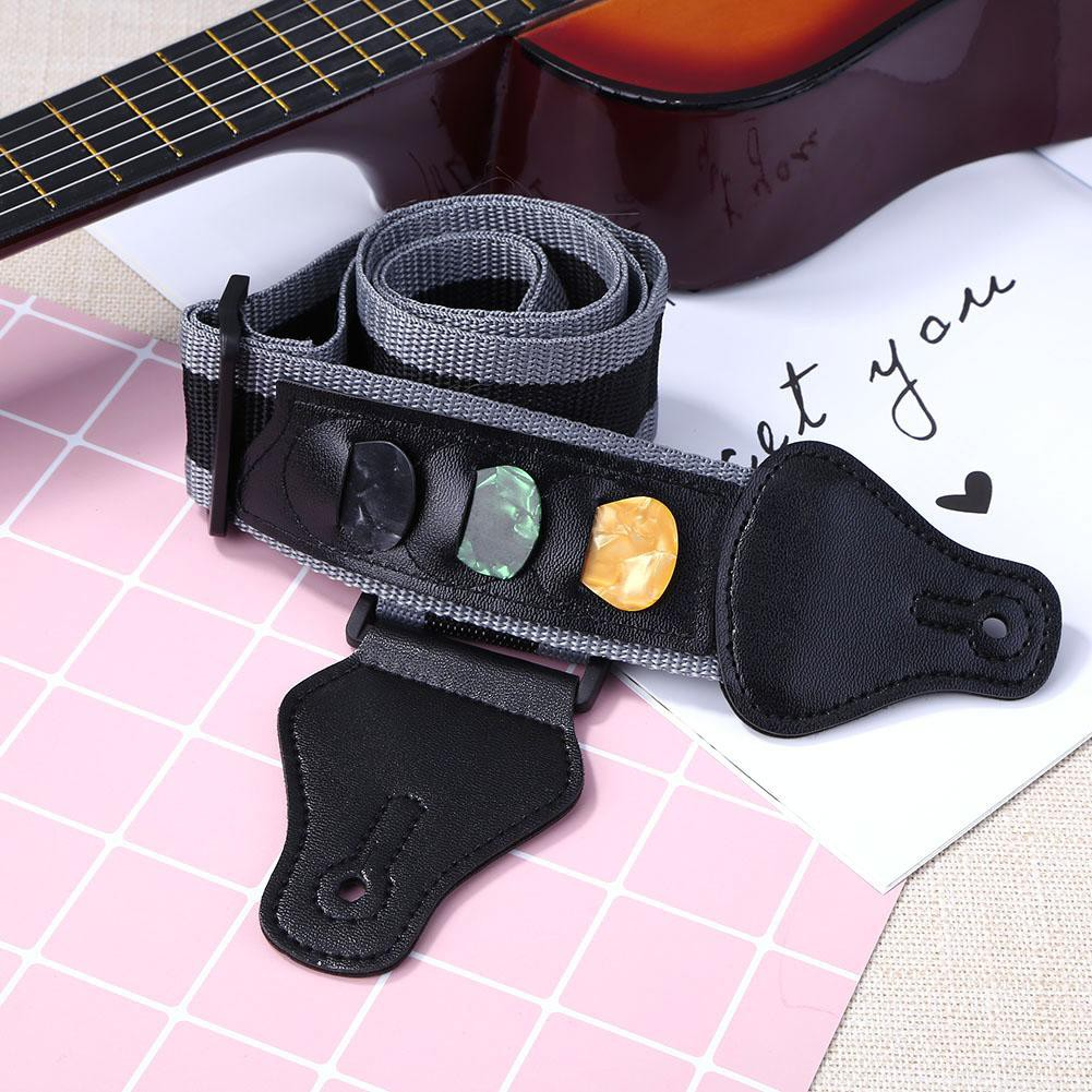 FD Guitar Strap with 3 Pi Holders+ 3 Plectrums for Electric Acoustic Guitar