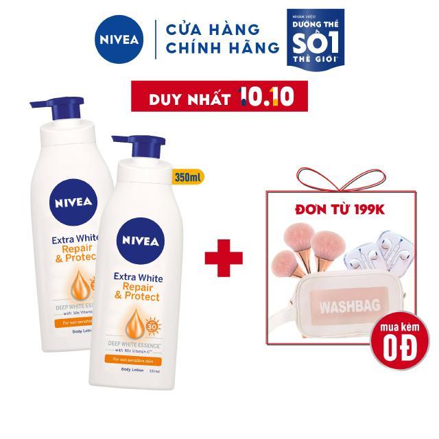 Bộ đôi sữa dưỡng thể dưỡng trắng Nivea giúp phục hồi chống nắng (350ml/chai) – 88311