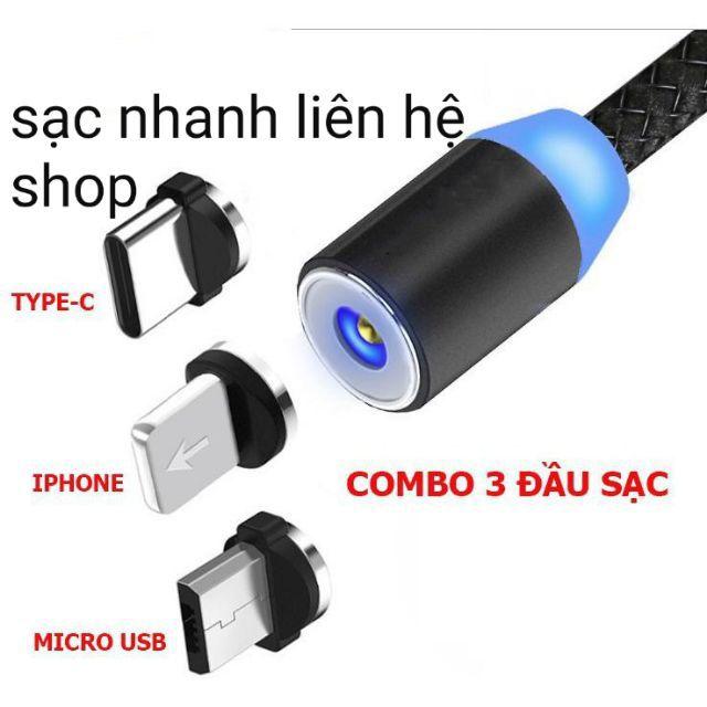 Cáp Sạc Nhanh Nam Châm 3 Đầu Iphone/ micro USB/ Type C Xoay 360 Độ Dây Dù Có LED Cao Cấp