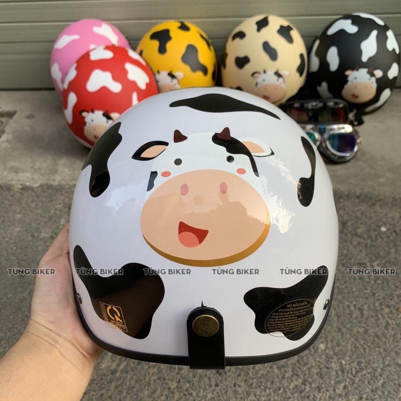 Mũ bảo hiểm 1/2 bò sữa tặng lưỡi trai