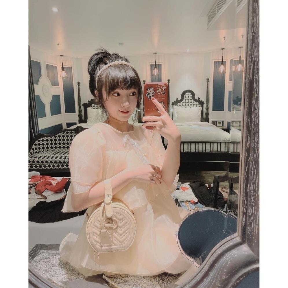 Túi tròn vân sóng túi xách nữ túi tròn mini vừa điện thoại hàng loại 1 TRONGVSONG01+ hình thật