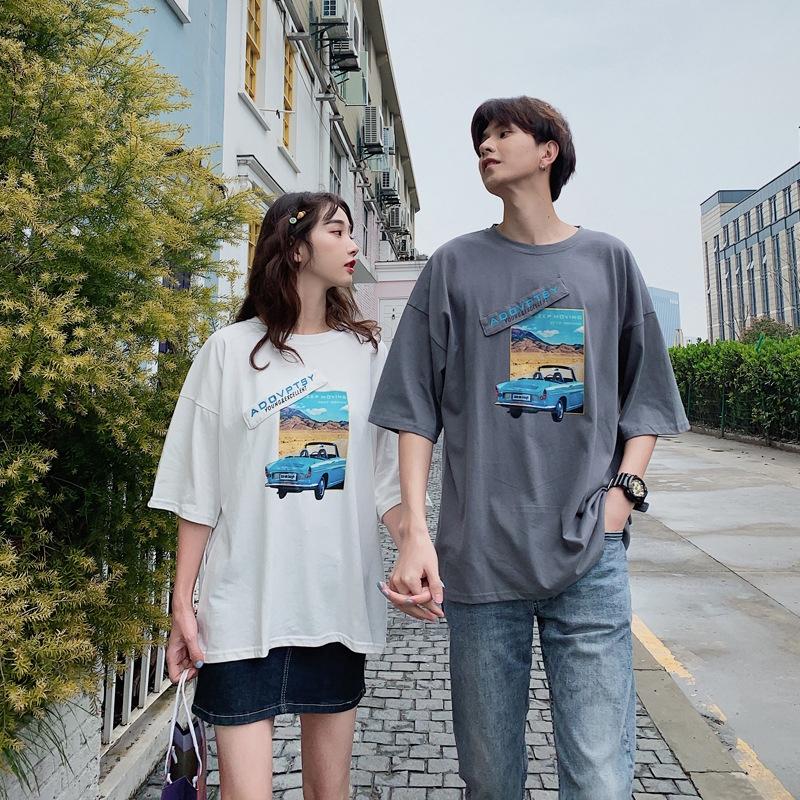 áo thun tay ngắn in chữ thời trang cho cặp đôi