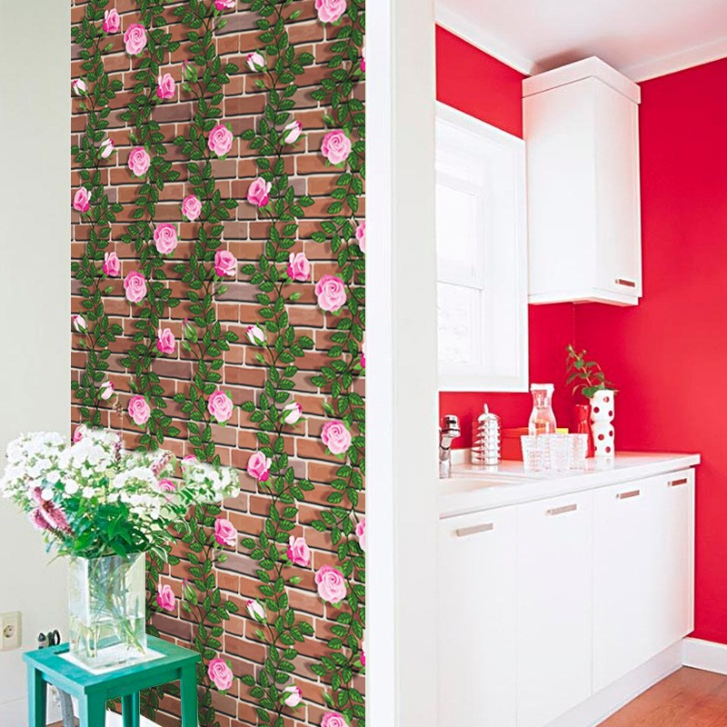 Giấy dán tường dây leo hoa hồng khổ rộng  0.45m