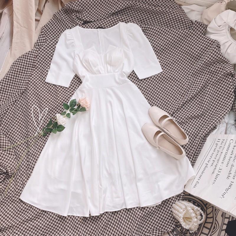 Mặc gì đẹp: Sang chảnh với [new] Đầm dự tiệc trắng chụp kỷ yếu mặc dự tiệc dạo phố cực xinh CÓ MÚT NGỰC có lót toàn thân Xẻ Ngực