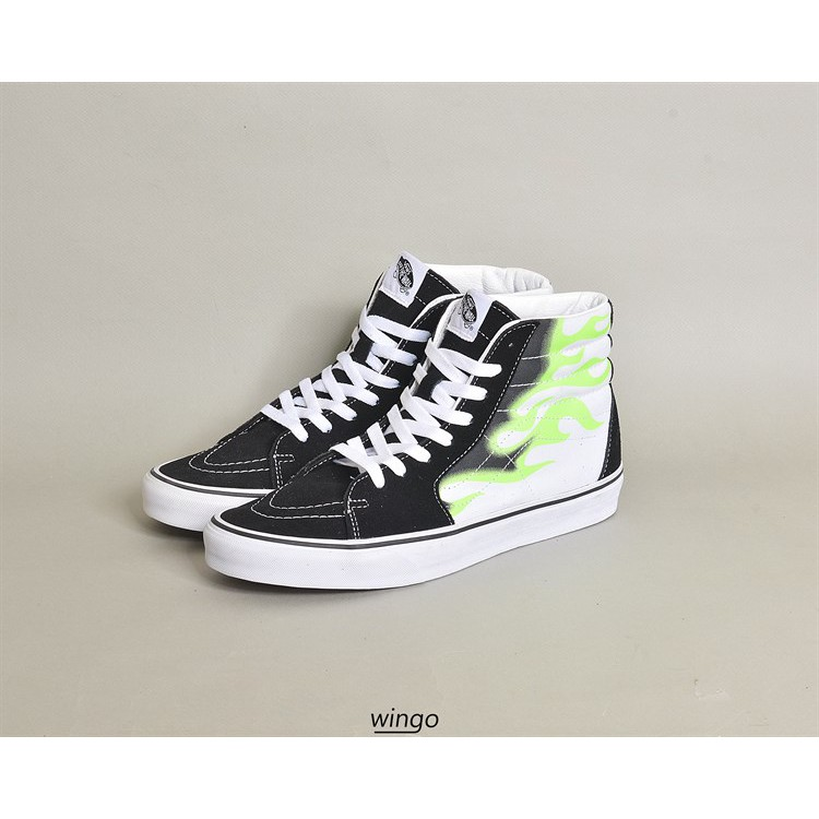 (giày chính hãng) Vans Sk8 - Hi Green Flame Black / True White