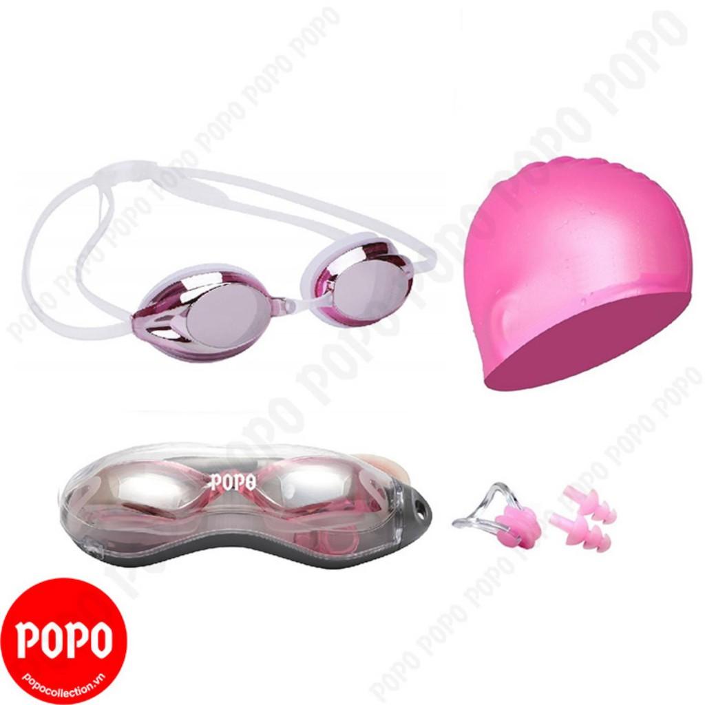 Kính bơi chuyên nghiệp 1154G, mũ bơi trơn, bịt tai kẹp mũi mắt kính nhỏ gọn, chống tia UV, chống lóa