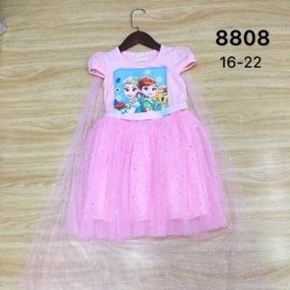 Váy elsa hồng kèm áo choàng cực xinh cho bé gái