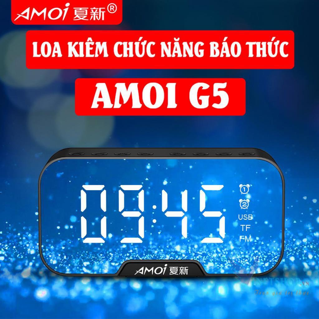Loa bluetooth AMOI G5 /G10  Nghe đài FM kiêm đồng hồ báo thức   Màn hình soi gương   Vỏ kim loại -dc3651