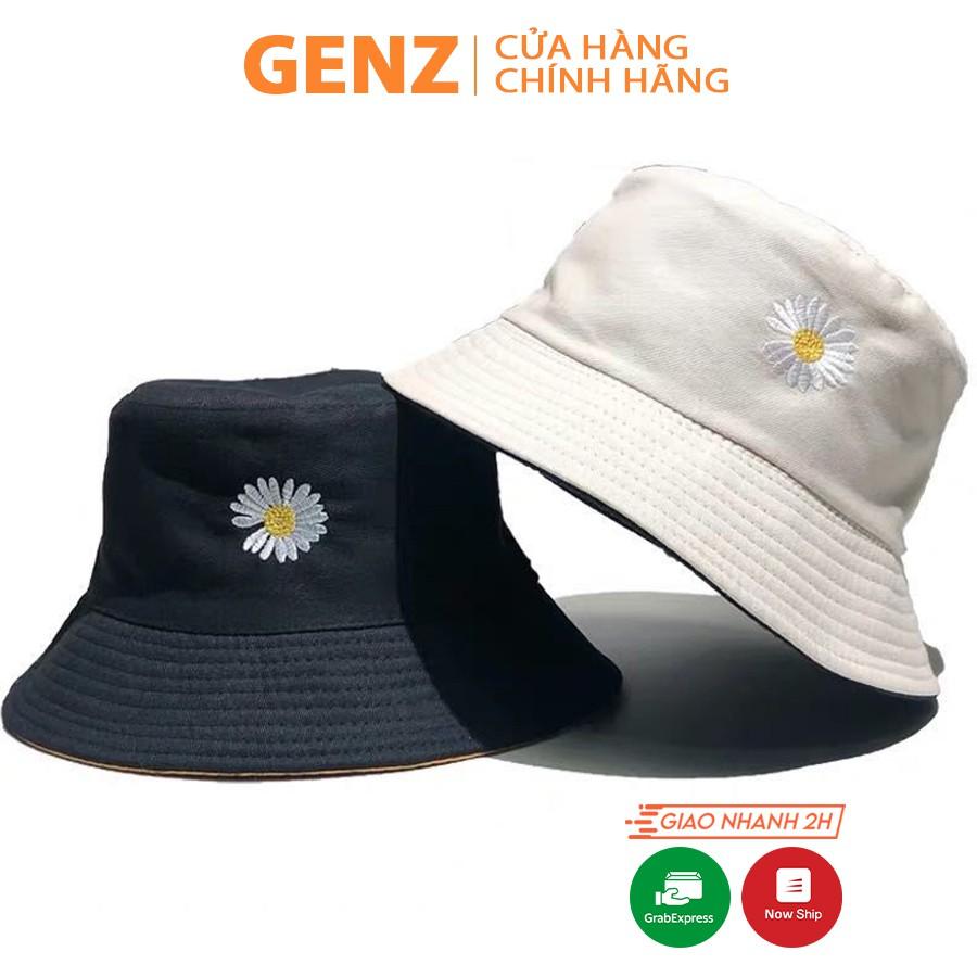 Nón bucket vành tròn 2 mặt GENZ thêu hoa cúc phong cách Ulzzang Unisex ZA002