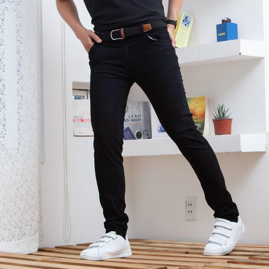quần jean nam đen trơn xịn ( có size đại ) 001 QP