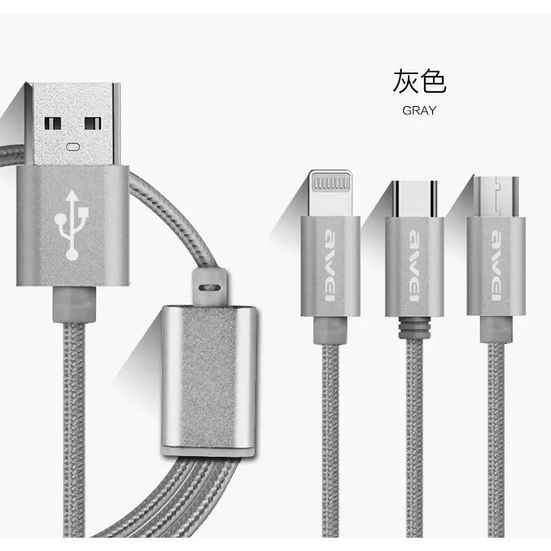 [Ready Stock] 34% Awei สายชาร์จ 3 หัวApple Micro TypeX2 3in1 CL-970