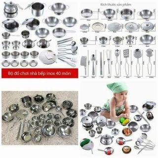 Bộ đồ chơi nấu ăn inox 40 chi tiết thêm kiềng