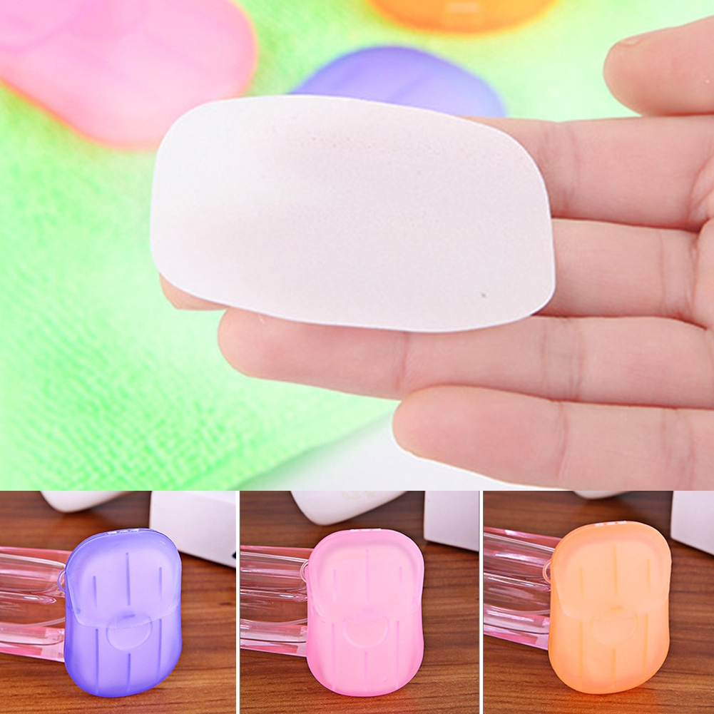 1pc Convenient Washing Hand Bath Soap flakes Travel portable Scented Slice Sheets Foaming Box Paper