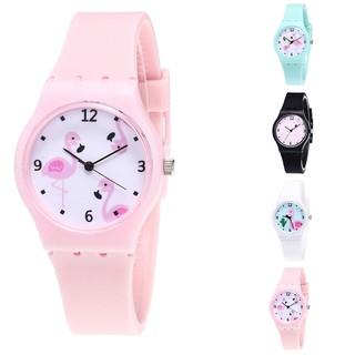 Đồng hồ nhựa dẻo màu kẹo họa tiết chim hồng hạc thumbnail