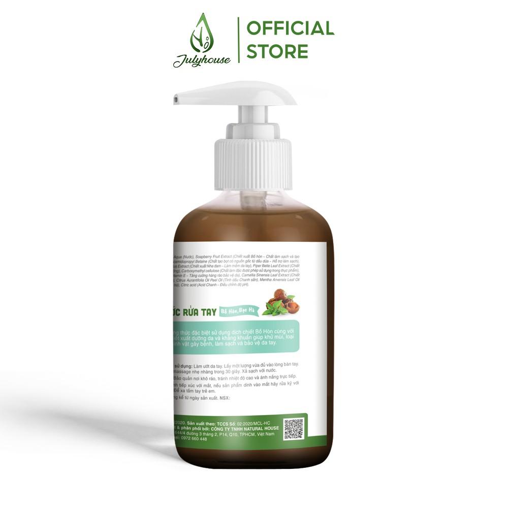Nước rửa tay hữu cơ chiết xuất Bồ Hòn và tinh dầu Bạc Hà 250ml JULYHOUSEsạch khuẩn, khử mùi