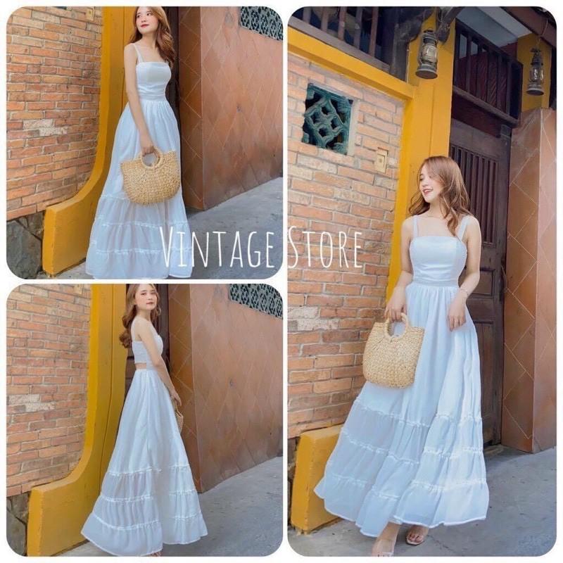 Đầm maxi trắng ❤️FREESHIP❤️ Váy đi biển đẹp